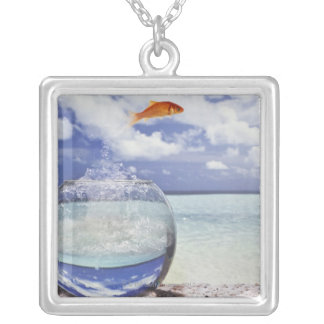 Fish jumping from fish tank silver plated necklace