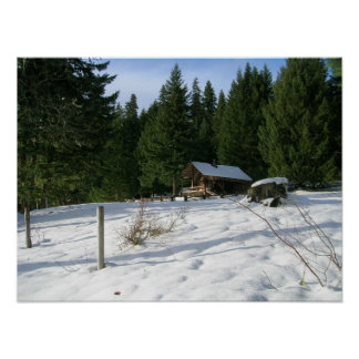 Fish Lake Remount Depot Cabin in Snow, Woods Posters