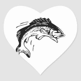 Fish Leaping Out of Water Heart Sticker