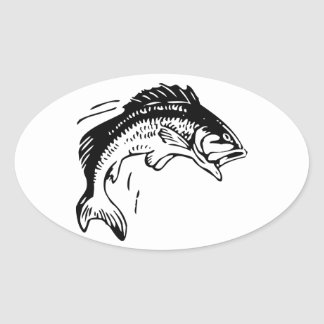 Fish Leaping Out of Water Oval Sticker