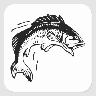 Fish Leaping Out of Water Square Sticker