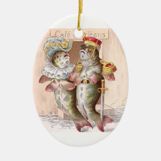 Fish Leaving the Cafe d'Orleans Ceramic Ornament