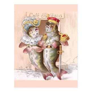Fish Leaving the Restaurant Cafe d'Orleans Postcard