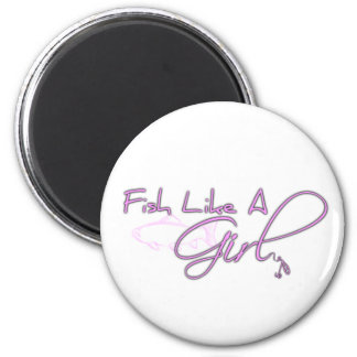 Fish Like A Girl (Salmon) 2 Inch Round Magnet