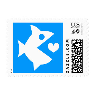 Fish love heart postage stamps