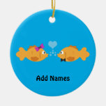 fish love Double-Sided ceramic round christmas ornament