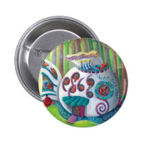 artsprojekt, magic house, magic mansion, mansion, house, fish, monsters, cute monsters, fish house, gaudi, gaudi casa, deep forest, childrens illustration, for kids, magic, luxury, Button with custom graphic design