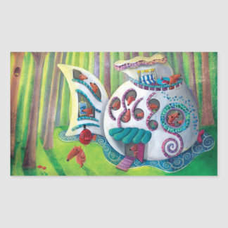 Fish Magical  Mansion in the Forest Rectangular Sticker