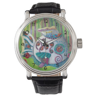 Fish Magical  Mansion in the Forest Wrist Watches