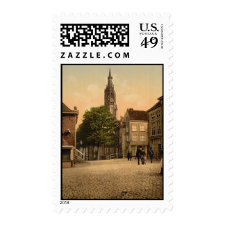 Fish Market and New Church, Delft, Netherlands Stamp