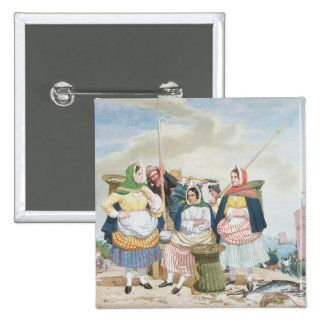 Fish Market by the Sea, c.1860 (oil on canvas) 2 Inch Square Button