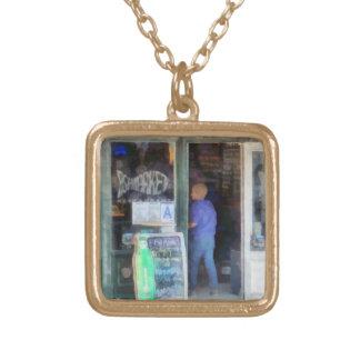 Fish Market Square Pendant Necklace