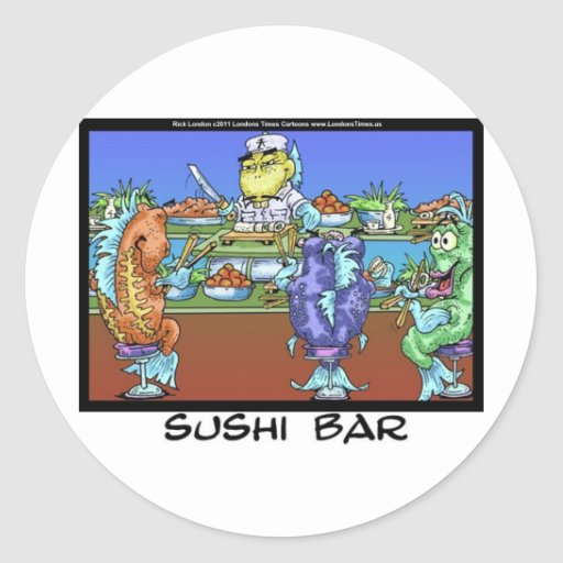 Fish Meet Markets AKA Sushi Bar Funny Gifts & Card Classic Round Sticker