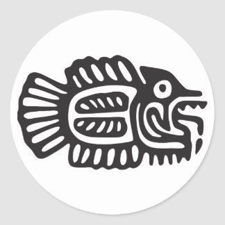 Fish, Mexican hieroglyph(Maya) Classic Round Sticker
