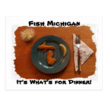 Fish Michigan it's What's for Dinner Postcard