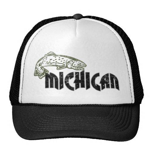 Fish Michigan Vintage Logo Hats