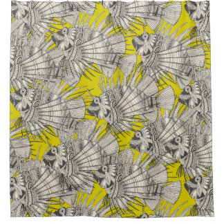 fish mirage chartreuse shower curtain