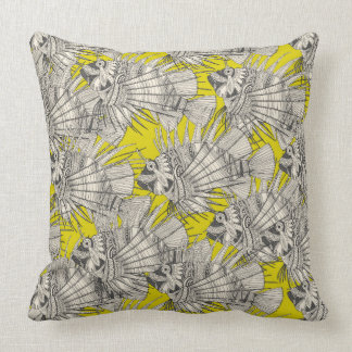 fish mirage chartreuse throw pillow