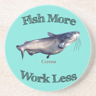Fish More Catfish Work Less Drink Coaster
