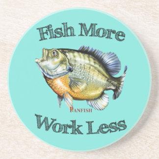 Fish More Panfish Work Less Drink Coaster