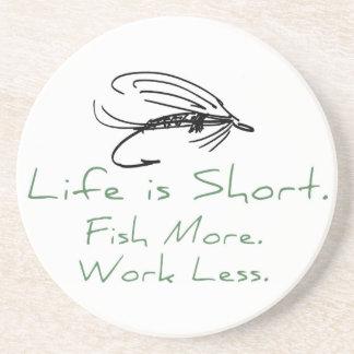 Fish More, Work Less! Sandstone Coaster