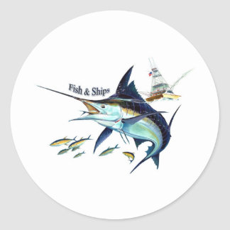fish n ships classic round sticker