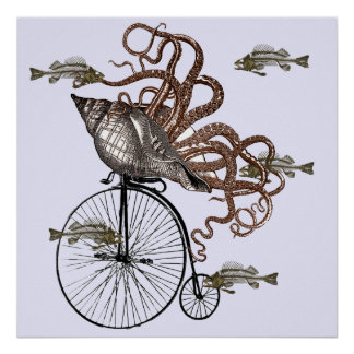 Fish Needs A Bicycle Poster