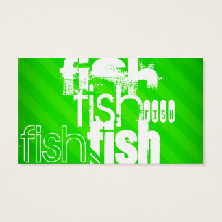 Fish; Neon Green Stripes Business Card