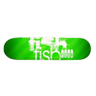 Fish; Neon Green Stripes Skateboard