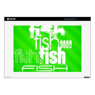 Fish; Neon Green Stripes Laptop Skin
