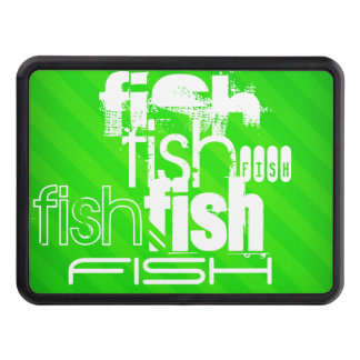 Fish; Neon Green Stripes Tow Hitch Cover