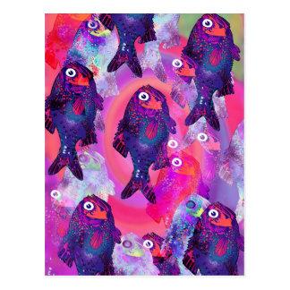 Fish Object Cartoon Animal Fun Kids Style Fashion Postcard