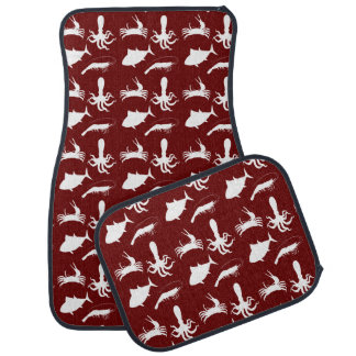 Fish ocean vector burgundy car mat