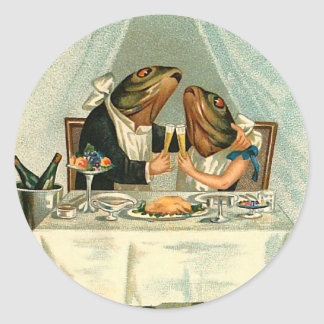Fish on a Date Classic Round Sticker