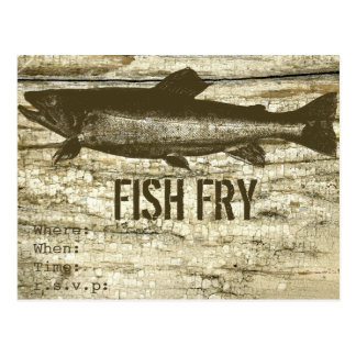 Fish on a Old Wooden Board with Textures Postcard