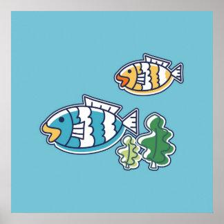 Fish on Aqua Background Poster