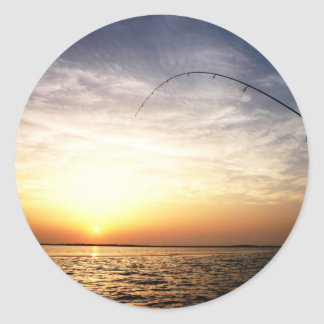 Fish on at Sunrise! Classic Round Sticker