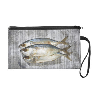 Fish on financial newspaper, elevated view wristlet clutch