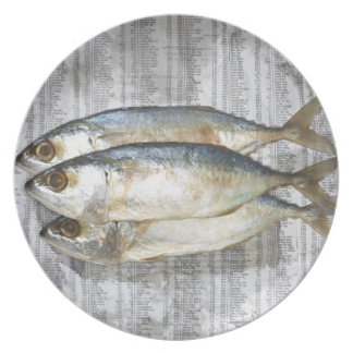 Fish on financial newspaper, elevated view dinner plate