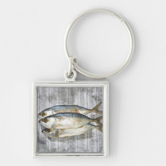 Fish on financial newspaper, elevated view keychain