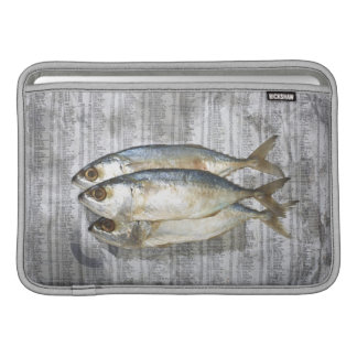 Fish on financial newspaper, elevated view sleeve for MacBook air