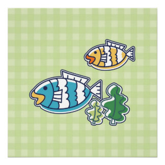 Fish on Green Plaid Background Poster