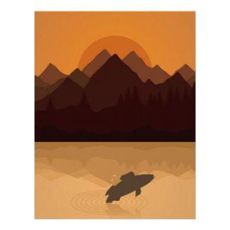 Fish on lake letterhead