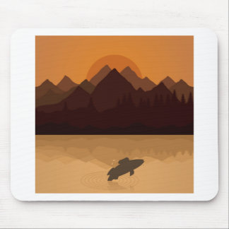 Fish on lake mouse pad