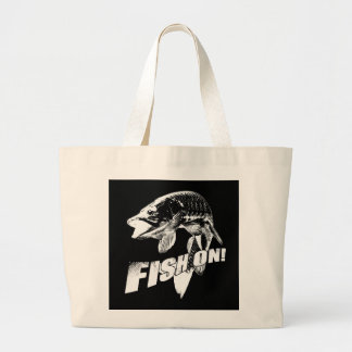 Fish on musky tote bag