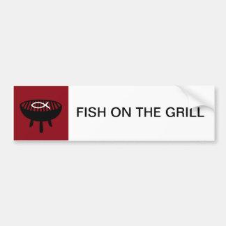 Fish on the grill car bumper sticker