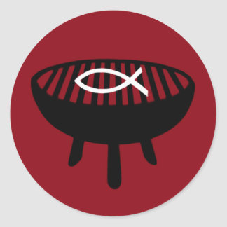 Fish on the grill round sticker