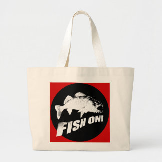 Fish on walleye tote bag
