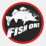 Fish on walleye classic round sticker