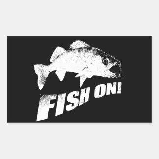 Fish on walleye rectangular sticker